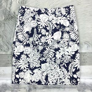 BODEN Richmond Pencil Skirt Navy Floral High Waist